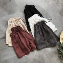 Casual pants White, khaki, gray, black, tiexiuhong S,M,L,XL shorts Wide leg pants Natural waist commute Thin money 96% and above Ocnltiy other Simplicity pocket cotton