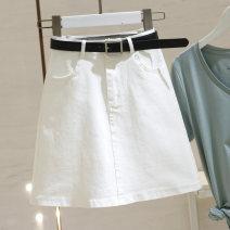 skirt Summer 2021 S,M,L,XL white Short skirt commute High waist A-line skirt Solid color Type A 25-29 years old C16656262 More than 95% Denim Ocnltiy cotton Pocket, button, zipper Korean version
