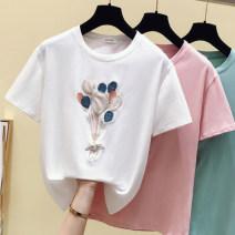 T-shirt White, green, purple S,M,L,XL,2XL Summer 2021 Short sleeve Crew neck Straight cylinder Regular routine Sweet cotton 96% and above Ocnltiy