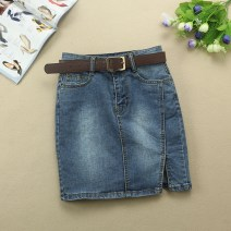 skirt Summer 2021 S (for belt), m (for belt), l (for belt), XL (for belt), XXL (125-135 Jin) Retro Blue Short skirt Versatile Natural waist Denim skirt Solid color Type A 25-29 years old More than 95% Denim Ocnltiy cotton Pocket, button, zipper, stitching