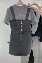 Dress Summer 2021 grey S,M,L,XL Short skirt singleton  Sleeveless commute High waist Solid color routine 18-24 years old Korean version 81% (inclusive) - 90% (inclusive) other