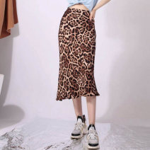 skirt Spring 2021 1 / XS, 2 / s, 3 / m, 4 / L, 5 / XL Leopard Print Mid length dress Retro High waist skirt Leopard Print Type A 5200260-1A70633-001 More than 95% other O'amash banner other printing