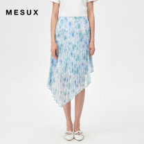 skirt Spring 2021 XS/155 S/160 M/165 L/170 XL/175 Green printing Mid length dress Natural waist Pleated skirt Type H 30-34 years old MJSUS201 More than 95% other Mesux / MI Xiu polyester fiber printing Polyester 100% Same model in shopping mall (sold online and offline)