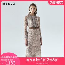 Dress Spring 2020 White printing XS/155 S/160 M/165 L/170 Mid length dress 30-34 years old Mesux / MI Xiu MISUO619 81% (inclusive) - 90% (inclusive) silk Silk 86% others 14% Same model in shopping mall (sold online and offline)