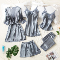 Pajamas / housewear set female Other / other Polyester (polyester) camisole sexy pajamas summer Thin money V-neck Solid color trousers Tether youth 2 pieces rubber string 81% (inclusive) - 95% (inclusive) Iced silk lace Short skirt