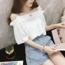 Lace / Chiffon Summer 2020 Light blue, white S,XL,2XL,L,M Short sleeve Sweet Socket Straight cylinder Regular One word collar Solid color routine 18-24 years old Chaoyi powder pack