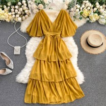 Dress Summer 2020 Average size Middle-skirt singleton  Short sleeve commute V-neck High waist Solid color Socket A-line skirt Others 18-24 years old Type A Korean version 31% (inclusive) - 50% (inclusive) other other