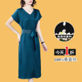 Dress Summer 2021 Blue, red, green M,L,XL,2XL,3XL Mid length dress singleton  Short sleeve commute V-neck middle-waisted Solid color Socket A-line skirt routine Others 35-39 years old Type A Love of brother Hua Korean version Bandage BH-6800 More than 95% Silk and satin silk