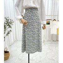 skirt Spring 2021 S, M White green, blue flower Mid length dress commute High waist A-line skirt Decor Type A 25-29 years old 30% and below Chiffon Other / other other printing Korean version 161g / m ^ 2 (including) - 180g / m ^ 2 (including)