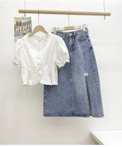 skirt Summer 2021 S, M Light blue Mid length dress commute High waist A-line skirt Solid color Type A 25-29 years old 30% and below Denim Other / other cotton pocket Korean version