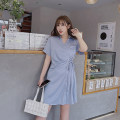 Women's large Spring 2021, summer 2021 Blue, black Large XL, large XXL, large XXL, large XXXXL, large XXXXL Dress singleton  commute Straight cylinder moderate Short sleeve Solid color Korean version Polo collar Medium length cotton routine