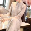 Dress Spring of 2019 grey S,M,L,XL,2XL Mid length dress singleton  three quarter sleeve commute stand collar Loose waist Decor Socket Big swing routine Others 25-29 years old Type A Qing shuzhai Retro printing 81% (inclusive) - 90% (inclusive) Chiffon polyester fiber