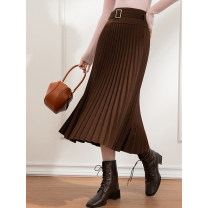 skirt Winter 2020 S,M,L,XL chocolate brown  Mid length dress commute High waist Pleated skirt Solid color Type A 81% (inclusive) - 90% (inclusive) knitting polyester fiber fold Simplicity