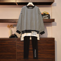 Women's large Winter 2020 black L [100-120 Jin recommended], XL [120-140 Jin recommended], 2XL [140-160 Jin recommended], 3XL [160-180 Jin recommended], 4XL [180-200 Jin recommended] Dress Sweet easy stripe Crew neck 18-24 years old
