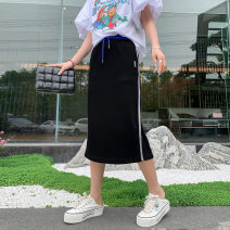 skirt Summer 2021 M,L,XL Black, gray Mid length dress commute High waist A-line skirt Solid color Type A 30-34 years old Kl414 color matching waist knitted skirt 51% (inclusive) - 70% (inclusive) brocade Small four original cotton Buttons, pockets, stitching, folds Korean version