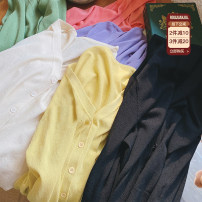 Women's large Summer 2021 Black cardigan, apricot cardigan, yellow cardigan, green cardigan, purple cardigan, pink cardigan, black half sleeve, apricot half sleeve, yellow half sleeve, green half sleeve, purple half sleeve, pink half sleeve Large XL, large XXL, large XXL Knitwear / cardigan commute