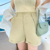 Women's large Summer 2021 Black, white, Khaki Large XL, large XXL, large XXL, large XXXXL, large XXXXL trousers singleton  commute easy thin Solid color Korean version polyester 4.12 chain Chiffon shorts Button 96% and above shorts