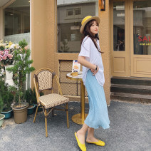 Women's large Spring 2021 Black, white, blue Large XL, large XXL, large XXL skirt singleton  commute easy moderate Dot Korean version polyester 3.15 wave point pleated skirt 96% and above Middle-skirt other