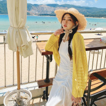 Women's large Summer 2021 Yellow, white, blue Large XL, large XXL, large XXL Knitwear / cardigan singleton  commute easy moderate Cardigan Long sleeves Solid color Korean version routine Polyester, acrylic, others routine 4.12 cross cut cardigan 31% (inclusive) - 50% (inclusive)