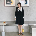 Women's large Spring 2021 black Large L, large XL, large XXL, large XXL, large XXXL Dress singleton  commute easy moderate Socket Long sleeves Korean version V-neck Medium length other routine 3.24 small black skirt with white pointed lapel and knot Bandage Middle-skirt other