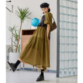 Dress Spring 2021 Olive green S,M,L longuette singleton  Short sleeve commute Crew neck Loose waist Solid color Socket A-line skirt puff sleeve Others 18-24 years old Type A Vimie Retro More than 95% Chiffon other