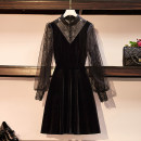Dress Spring 2021 black M,L,XL,2XL,3XL,4XL singleton  Long sleeves commute Crew neck Solid color A-line skirt routine Others 18-24 years old Type A Korean version Splicing 51% (inclusive) - 70% (inclusive) cotton