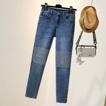 Women's large Autumn 2020 blue L [100-120 Jin recommended], XL [120-140 Jin recommended], 2XL [140-160 Jin recommended], 3XL [160-180 Jin recommended], 4XL [180-200 Jin recommended] Jeans singleton  commute easy moderate Solid color Korean version Denim Three dimensional cutting Diamond inlay