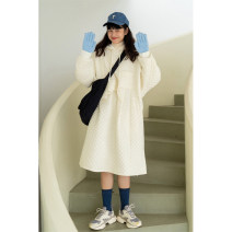 Dress Winter 2020 White, black XS,S,M,L Mid length dress singleton  Long sleeves commute Hood Loose waist Solid color Socket other routine Others 18-24 years old Deer and birds Simplicity Fold, Auricularia auricula, asymmetry, bandage, wave L3322 More than 95% other nylon