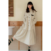 Dress Spring 2021 Green, beige S,M,L Mid length dress singleton  Long sleeves Sweet Doll Collar Loose waist Solid color Single breasted Pleated skirt raglan sleeve Others 18-24 years old Type A Deer and birds Folds, pockets L3370 More than 95% polyester fiber solar system