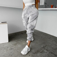 Casual pants Grey, army green Average size Spring 2021 trousers Haren pants High waist commute routine 30-34 years old Cotton blended fabric Korean version tie-dyed
