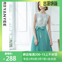 Dress Summer 2021 Blue flower S,M,L,XL Mid length dress Fake two pieces Sleeveless commute Crew neck High waist Broken flowers Socket A-line skirt routine Others 35-39 years old Type A Yan Yu Ol style Fold, tie, splice 20S9280 More than 95% other