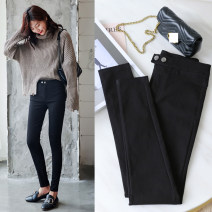 Casual pants black S,M,L,XL,2XL Autumn of 2018 trousers Pencil pants High waist routine 81% (inclusive) - 90% (inclusive) wimigirls other