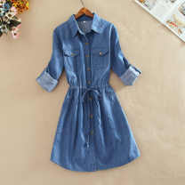 Dress Spring 2020 Dark blue denim in pocket, light blue denim in pocket S,M,L,XL Mid length dress singleton  Long sleeves commute Polo collar middle-waisted Solid color Single breasted A-line skirt shirt sleeve Others 18-24 years old Type A Yi Meiyuan lady Denim dress Denim cotton