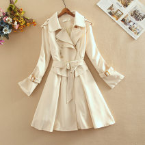 Dress Spring 2020 Beige S,M,L,XL,2XL Mid length dress Fake two pieces Long sleeves Sweet tailored collar middle-waisted Solid color Single breasted Princess Dress shirt sleeve Others 18-24 years old Type A CINISIOR Splicing, three-dimensional decoration fashion dress  other cotton princess