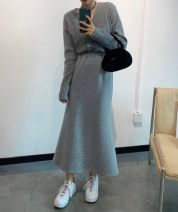 skirt Winter 2020 Average size Mid length dress commute High waist skirt Solid color Type H 30% and below Wool Other / other cotton Korean version