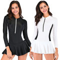one piece  Sbart / Sharbat XL,L,M,XXL,XXXL Black, white Skirt one piece With chest pad without steel support nylon female Long sleeves other