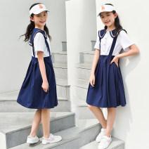 Dress blue female Wgkey / tips 130cm 140cm 150cm 160cm 170cm Cotton 95% polyurethane elastic fiber (spandex) 5% summer college Short sleeve Solid color cotton A-line skirt 1C827 Class B Summer 2021 Chinese Mainland Guangdong Province Dongguan City