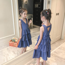 Dress blue female Class two The size of this model is 120cm, including 100cm (recommended height is about 100cm), 110cm (recommended height is 100-110), 120cm (recommended height is 110-120), 130cm (recommended height is 120-130), 140cm (recommended height is 130-140) Other 100% summer Korean version