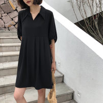 Women's large Summer 2021 Short, long L [90-110 Jin], XL [110-130 Jin], 2XL [130-150 Jin], 3XL [150-170 Jin], 4XL [170-200 Jin] Dress singleton  commute easy Socket Short sleeve Solid color Korean version Polo collar other Three dimensional cutting Other / other Button Medium length