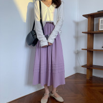 skirt Summer 2020 Average size White, light purple Mid length dress commute High waist A-line skirt Solid color Type A 18-24 years old 30% and below cotton Retro