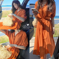 Dress Summer 2020 orange Average size longuette singleton  elbow sleeve commute other High waist Solid color Socket other routine Others 18-24 years old Type H Other / other 71% (inclusive) - 80% (inclusive) other other