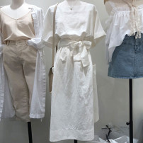 Dress Summer 2021 white M,L,XL,S Mid length dress singleton  commute square neck High waist Solid color Socket A-line skirt routine 18-24 years old Type A Korean version 51% (inclusive) - 70% (inclusive) cotton