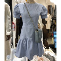 Dress Summer 2021 White, blue, black S,M,L,XL Mid length dress singleton  Short sleeve commute Crew neck High waist Solid color zipper A-line skirt puff sleeve Others 18-24 years old Type A Korean version 51% (inclusive) - 70% (inclusive) cotton