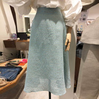 skirt Spring 2021 S,M,L,XL blue Mid length dress commute High waist A-line skirt Solid color Type A 18-24 years old 30% and below Korean version