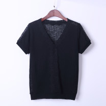 Women's large Summer 2020 black T-shirt singleton  commute easy moderate Socket Short sleeve Solid color Korean version V-neck routine Three dimensional cutting routine 18-24 years old Lace stitching Hollowing out