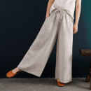 Casual pants White, orange, hemp M, L Summer 2020 trousers Wide leg pants High waist Versatile routine 96% and above Linen pants 028 Dust pollution hemp pocket hemp