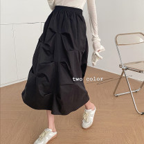 skirt Summer 2020 Average size Black, white Mid length dress Retro Natural waist Irregular Solid color Type A 51% (inclusive) - 70% (inclusive) other polyester fiber