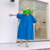 Dress Summer of 2019 Rose red, blue, purple, light green, orange Average size longuette singleton  elbow sleeve commute Loose waist Solid color Socket puff sleeve Others 18-24 years old Type H Korean version Splicing