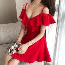 Dress Summer of 2019 Red, black S,M,L,XL,2XL Short skirt singleton  Short sleeve V-neck High waist Solid color zipper Ruffle Skirt Lotus leaf sleeve camisole 25-29 years old Type A Lotus leaf edge