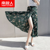 skirt Summer of 2018 Average size Four leaf green Daisy Blue Daisy Gardenia small yellow flower longuette Versatile High waist A-line skirt Decor Type A 18-24 years old NHH5F60482 More than 95% NGGGN polyester fiber Asymmetry